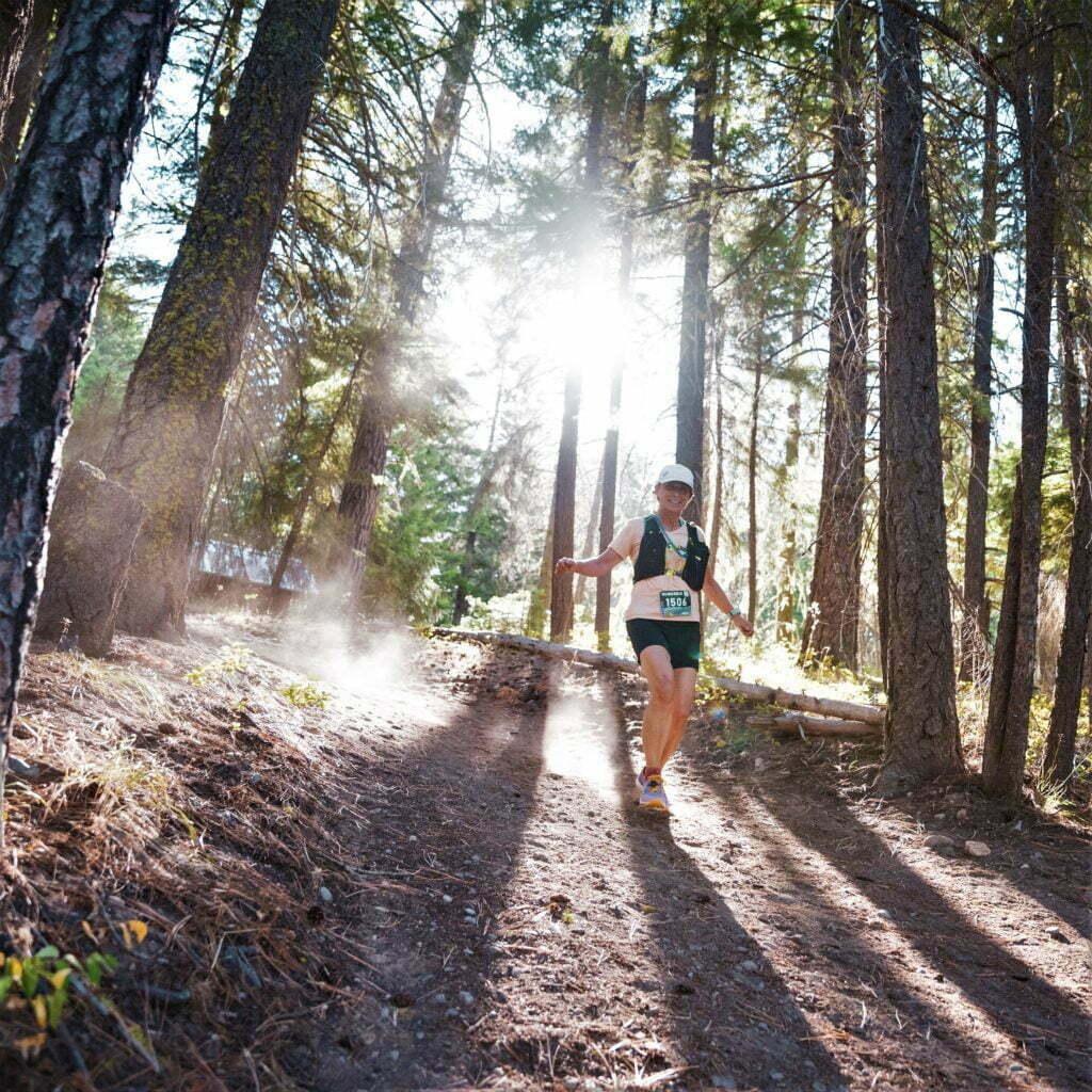 renee on the suncadia half marathon trail